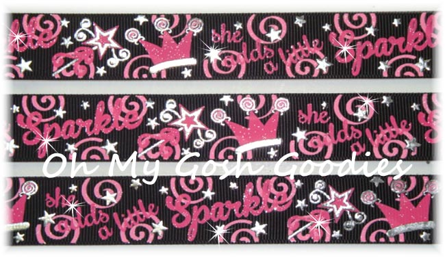 7/8 SHE ADDS SPARKLE PRINCESS BLACK - 5 YARDS