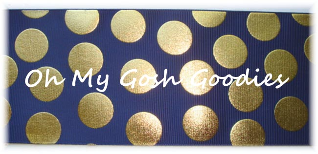 "3"" OOAK METALLIC GOLD CHEER DOTS NAVY - 4 YARDS"