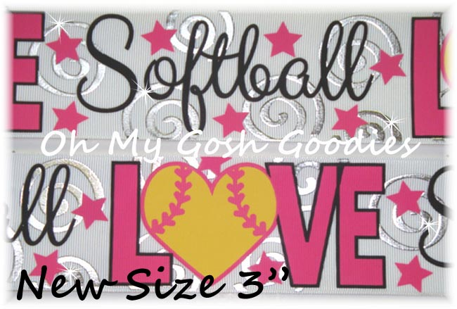 "3"" LOVE SOFTBALL BLING WHITE - 5 YARDS"