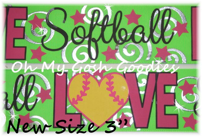 "3"" LOVE SOFTBALL BLING LIME - 5 YARDS"