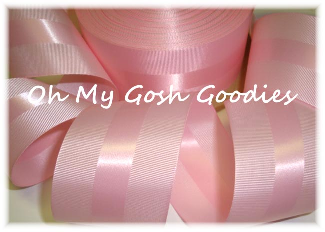 2 1/4 EASTER PINK CLASSIC STRIPE WEDDING SATIN - 5 YARDS