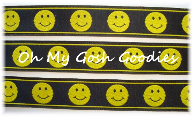 7/8 SMILEY FACE BLACK JACQUARD - 5 YARDS