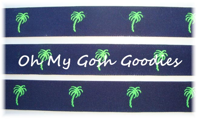 7/8 PALM TREES NAVY JACQUARD - 5 YARDS