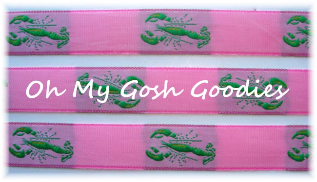 "7/8"" LIME LOBSTER CRAWFISH PINK  JACQUARD - 5 YARDS"