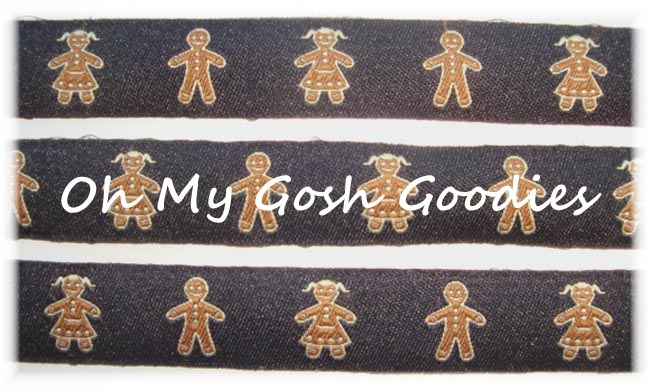 5/8 GINGERBREAD MEN BLACK JACQUARD - 5 YARDS