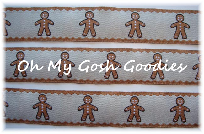 7/8 GINGERBREAD MEN TAN JACQUARD - 5 YARDS