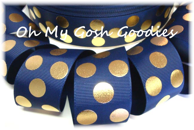 1.5 NAVY GOLD METALLIC DOTS - 5 YARDS