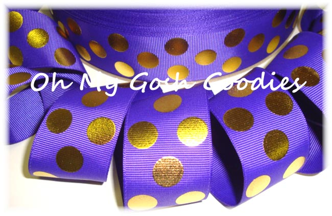 1.5 PURPLE GOLD METALLIC DOTS - 5 YARDS