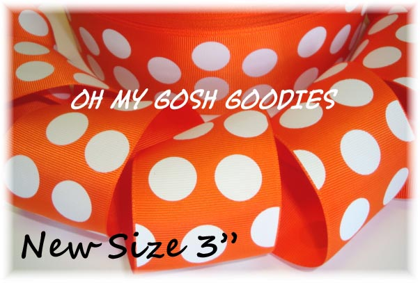 "3"" OOAK ORANGE WHITE JUMBO DOTS - 4 YARDS"