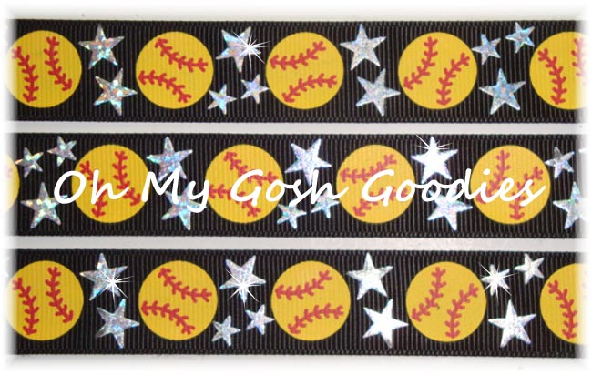 7/8 STAR SOFTBALL HOLOGRAM BLACK - 5 YARDS