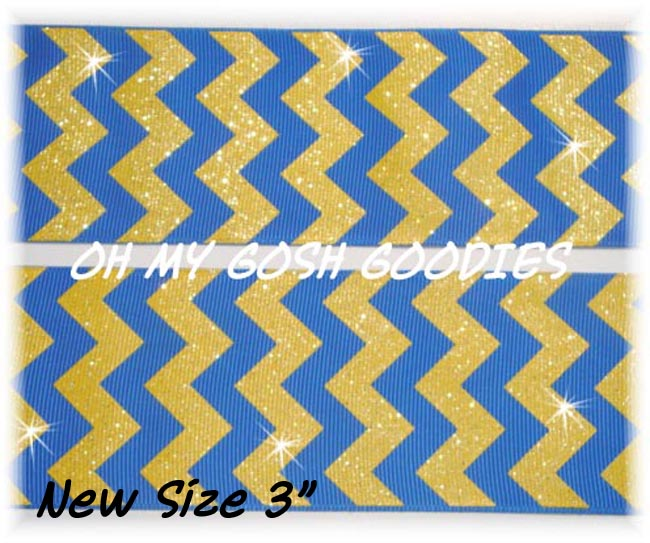"3"" OOAK ROYAL GOLD CHEVRON GLITTER  - 4 YARDS"