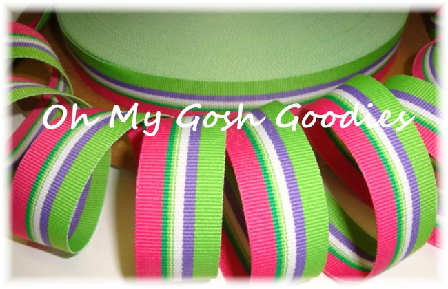7/8 RASPBERRY LIMEADE SUMMER STRIPE - 5 YARDS