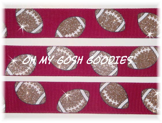 7/8 OOAK IRREGULAR GLITTER FOOTBALLS MAROON - 3 YARDS