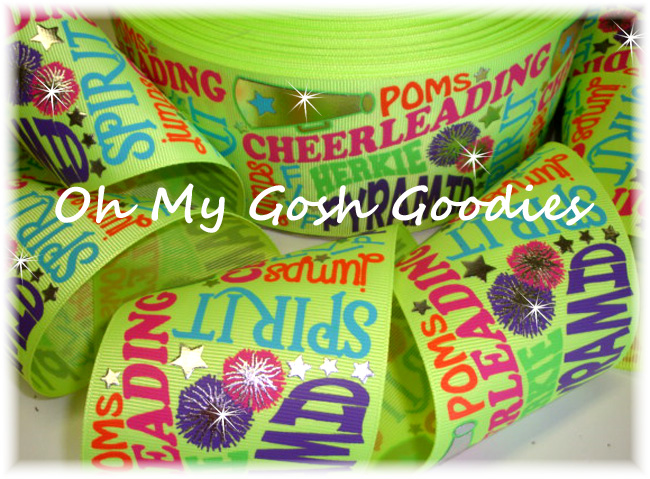"3"" JUST SAYIN CHEER NEON YELLOW - 5 YARDS"