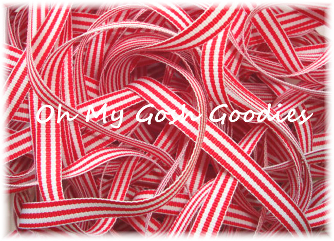 3/8 RED WHITE TAFFY STRIPE - 5 YARDS