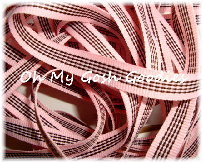 3/8 CHOCOLATE BUBBLEGUM STRIPE - 5 YARDS