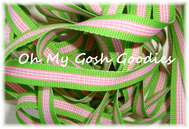 3/8 HAWAIIAN TWIST PINK LIME STRIPE - 5 YARDS