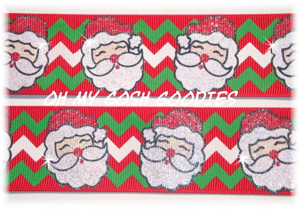 1.5 RED CHEVRON GLITTER  SANTA - 5 YARDS