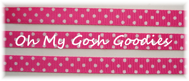 3/8 SHOCKING PINK WHITE SWISS DOTS - 5 YARDS