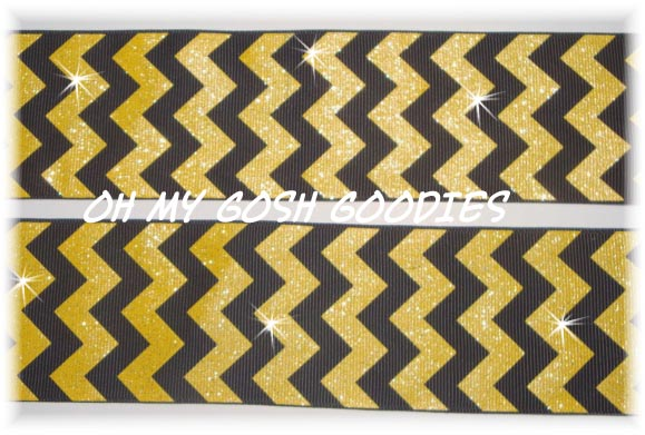 2 1/4 BLACK GOLD CHEVRON GLITTER  - 5 YARDS