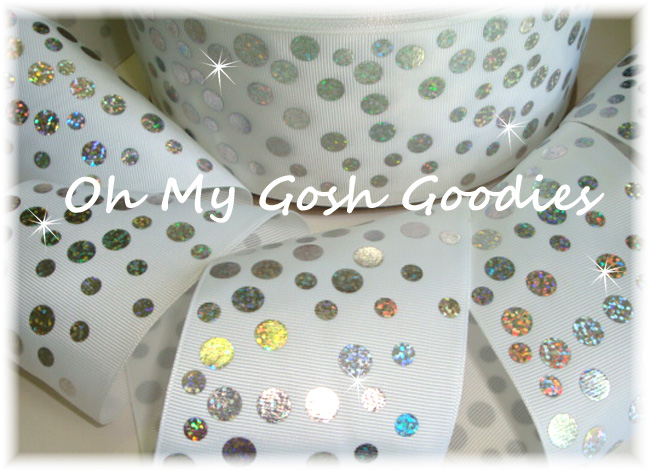 "3"" SILVER HOLOGRAM DISCO DOTS WHITE - 5 YARDS"