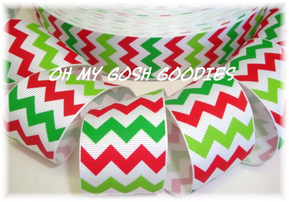 1.5 * SALE * CHEVRON WHITE RED LIME GREEN - 5 YARDS