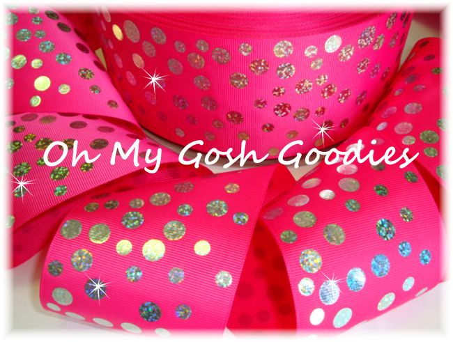 "3"" SILVER HOLOGRAM DISCO DOTS SHOCKING PINK  - 5 YARDS"