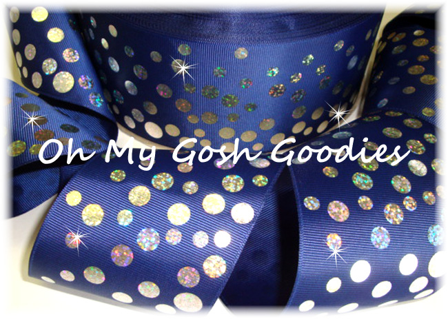 "3"" SILVER HOLOGRAM DISCO DOTS NAVY - 5 YARDS"