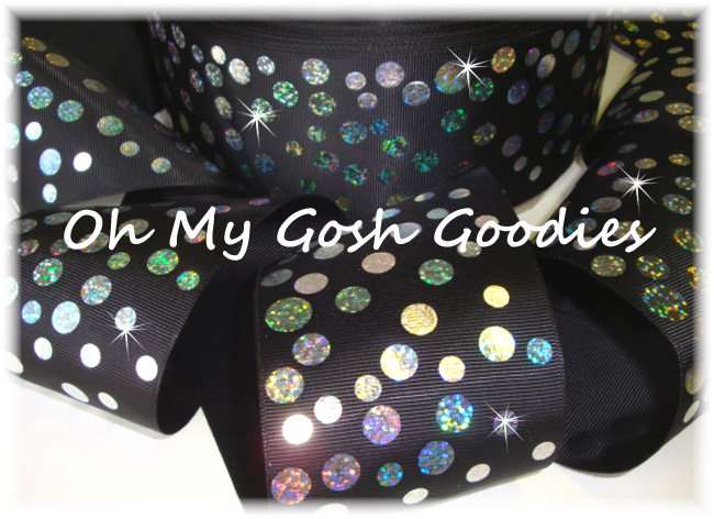 "3"" SILVER HOLOGRAM DISCO DOTS BLACK - 5 YARDS"