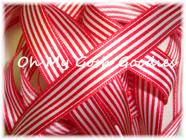 7/8 OFFRAY RED WHITE OXFORD SATIN STRIPE - 5 YARDS