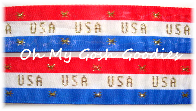 7/8 USA GOLD PATRIOTIC STRIPE JACQUARD - 5 YARDS
