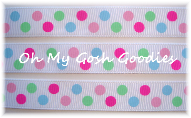 5/8 LAST ONE PINK LIME BLUE DOTS - 5 YARDS