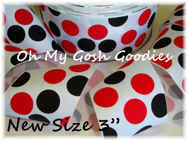 "3"" WHITE RED BLACK JUMBO DOTS - 5 YARDS"