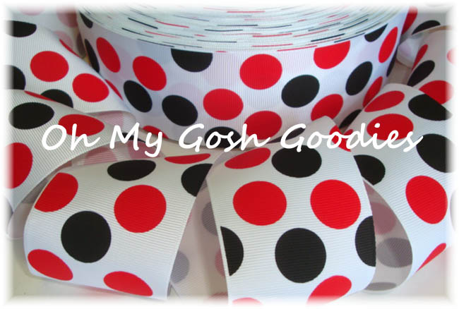 2 1/4 WHITE RED BLACK JUMBO DOTS - 5 YARDS