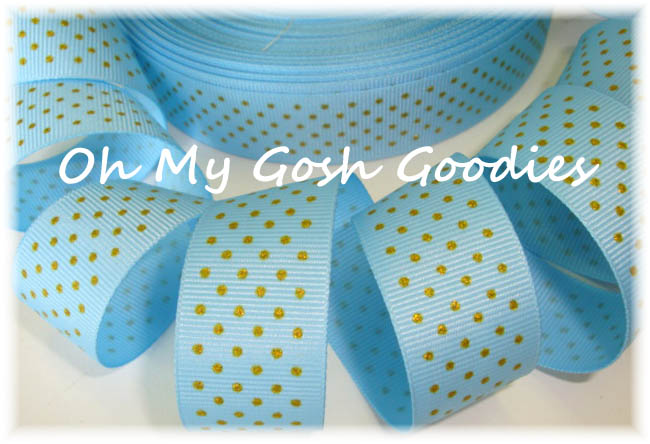 "1"" BABY BLUE GOLD VINTAGE PIN DOTS - 5 YARDS"