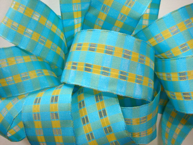 1.5 OOAK WIRED BLUE YELLOW OPEN CHECK - 4 1/2 YARDS