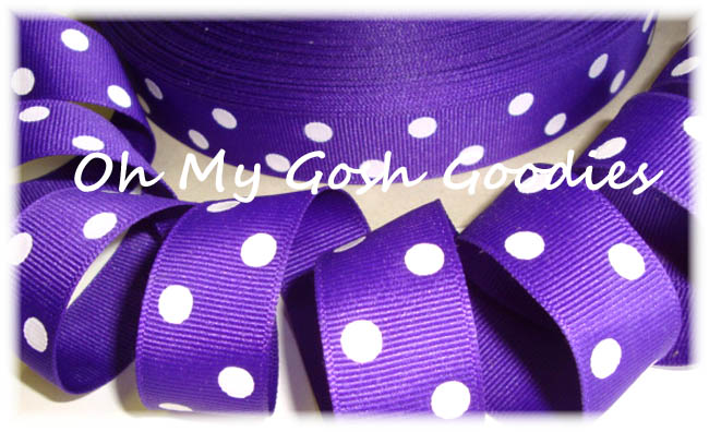 7/8 SALE CLASSIC POLKA DOTS PURPLE WHITE - 5 YARDS