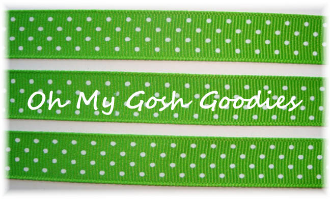 5/8 LIME WHITE SWISS DOTS - 5 YARDS