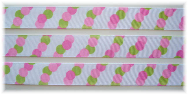5/8 OOAK PINK LIME TRIO DOTS - 7 1/4 REMNANT YARDS