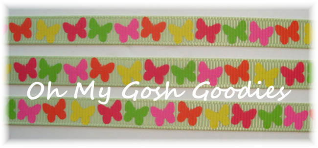 3/8 SOCIAL BUTTERFLY BITTY BABIES LIME - 5 YARDS