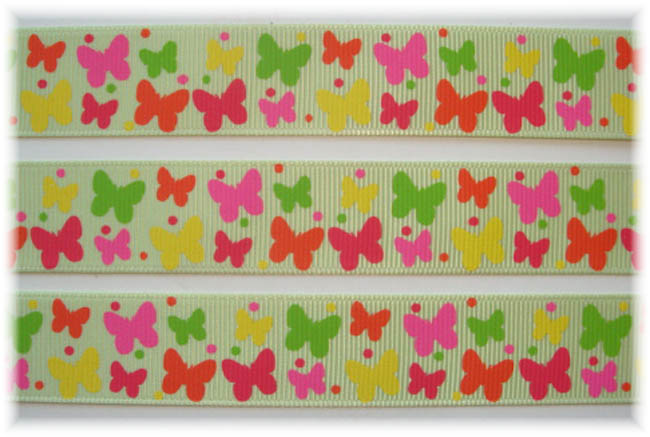 7/8 SOCIAL BUTTERFLY BABIES LIME - 5 YARDS