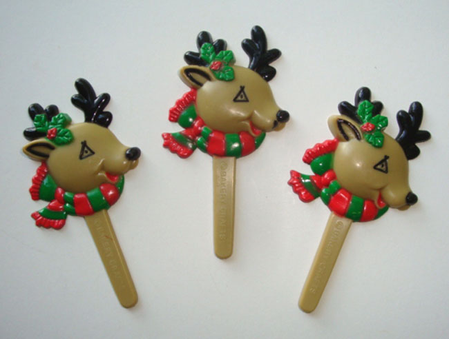 12PC  REINDEER CUPCAKE PICK FOR HAIRBOWS