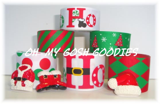 HO HO HO SANTA HAT BOOTS SUIT RIBBON MIX