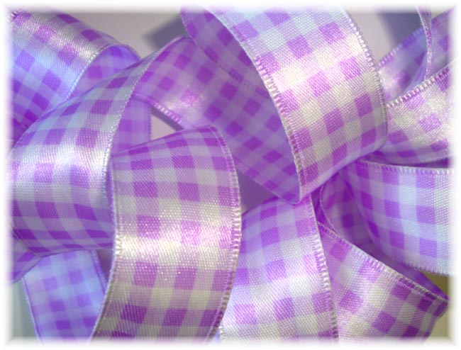 7/8 WIRED ORCHID SATIN GINGHAM CHECK - 3 YARDS
