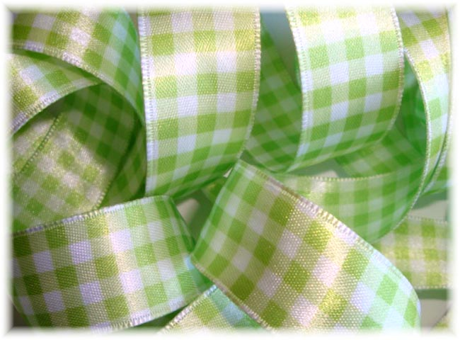7/8 WIRED LIME SATIN GINGHAM CHECK - 3 YARDS