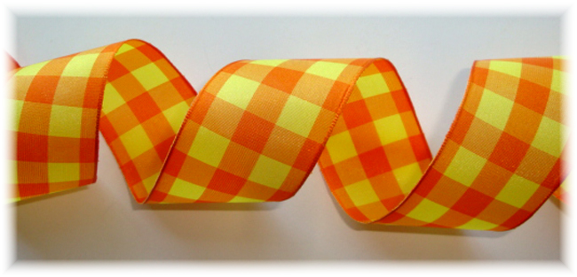 1.5 OOAK WIRED YELLOW ORANGE BOLD CHECK - 3 YD