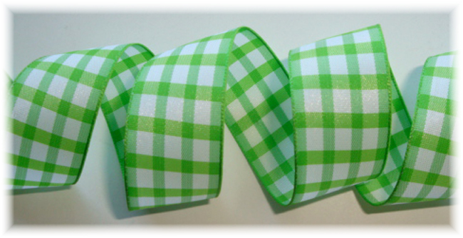 "1"" LIME WHITE TAFFETA CHECK - 5 YARDS"