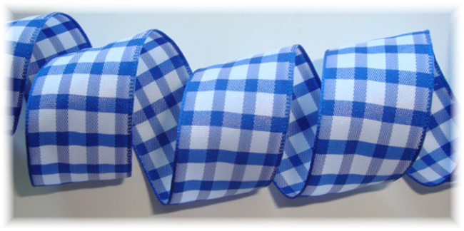 "1"" OOAK ROYAL WHITE TAFFETA CHECK - 3 YARDS"