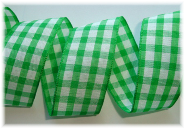 "1"" OOAK EMERALD WHITE TAFFETA CHECK - 3 1/2  YARDS"