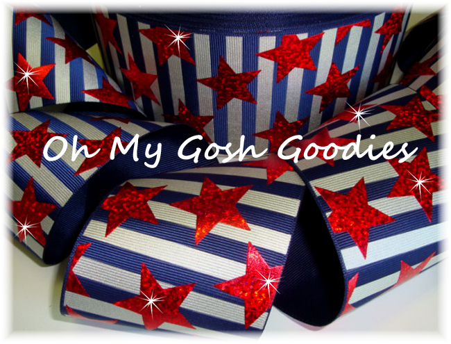 "3"" RED HOLOGRAM STARS NAVY STRIPE BLING - 5 YARDS"